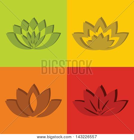 Color flat flowers with short shadow. Logo for spa salon. Vector illustration
