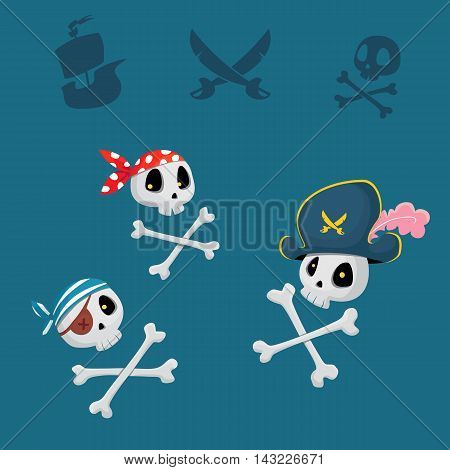 funny pirates sculls vector set for party or poster