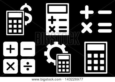 Calculator vector icons. Pictogram style is white flat icons with rounded angles on a black background.