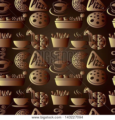 Elegant modern dark brown vector seamless pattern background  with volumetric cafe pizzeria restaurant cook symbols, accessories. Stylish luxury 3d elements with shadows and highlights. Endless texture.