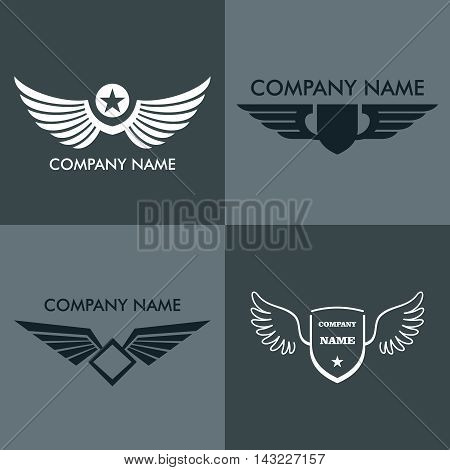Wings logo for company on gray background. Business logo elements, vector illustration