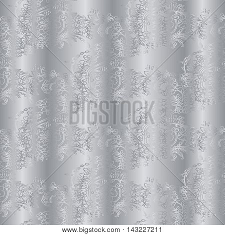 Silver drapery stylish floral vector seamless pattern background with vintage beautiful silver flowers and ornaments. Luxury illustration and royal 3d decor elements with shadow and highlights. Endless elegant  texture.