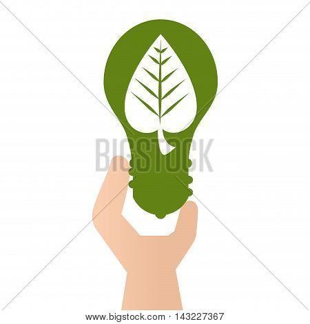 green bulb leaf go ecology environmental conservation save planet vector illustration