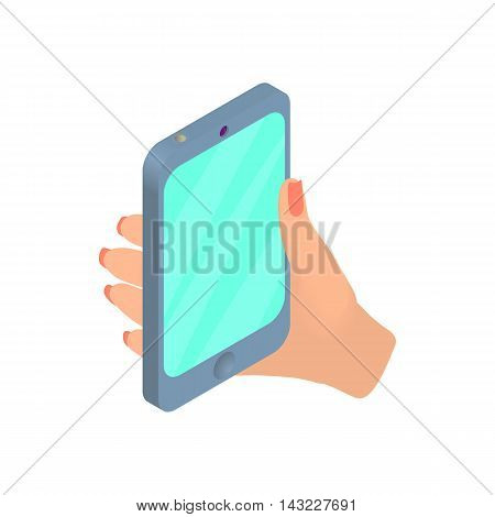 Female hand holding cellular phone icon in cartoon style isolated on white background. Device symbol