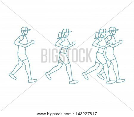 Run man and woman icons in line art style. Vector illustration