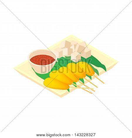 Singapore food icon in cartoon style isolated on white background. Eat symbol