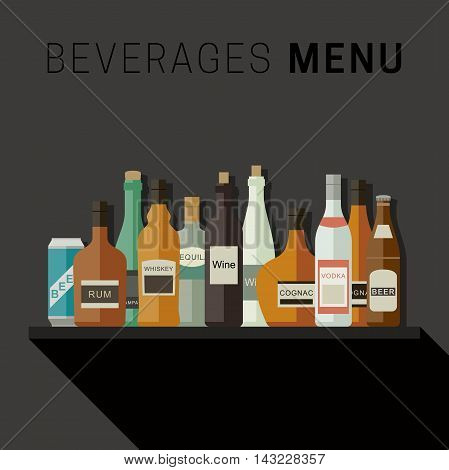 Drinks menu with bottles icons of alcoholic beverages. Vector flat illustration.
