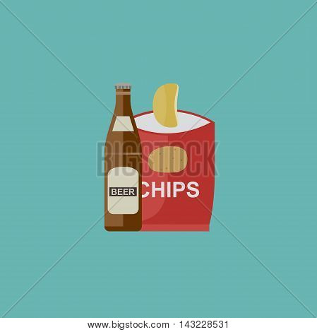 Beer and chips icon in flat style. Vector illustration.