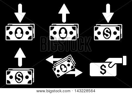 Pay Banknotes vector icons. Pictogram style is white flat icons with rounded angles on a black background.