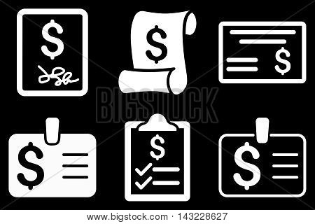 Payment Cheque vector icons. Pictogram style is white flat icons with rounded angles on a black background.