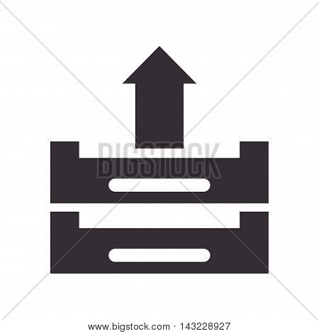 arrow file document upload load data information books vector illustration