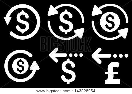 Refund vector icons. Pictogram style is white flat icons with rounded angles on a black background.