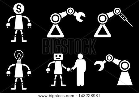 Robot vector icons. Pictogram style is white flat icons with rounded angles on a black background.