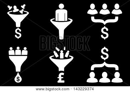 Sales Funnel vector icons. Pictogram style is white flat icons with rounded angles on a black background.