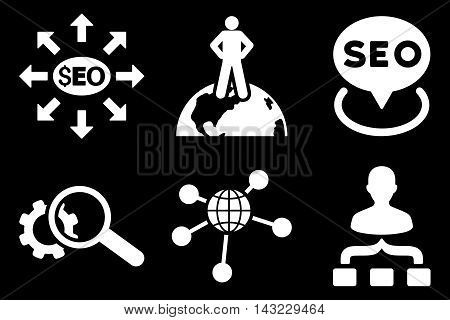 Seo Marketing vector icons. Pictogram style is white flat icons with rounded angles on a black background.