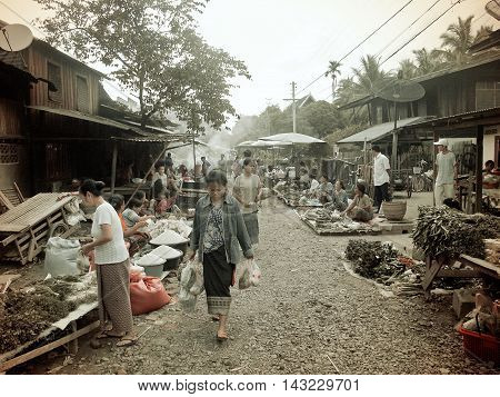 The Morning Market In Luang Prabang, Lao Pdr, In 2004