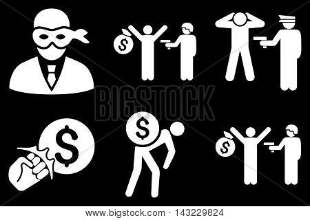 Thief Arrest vector icons. Pictogram style is white flat icons with rounded angles on a black background.