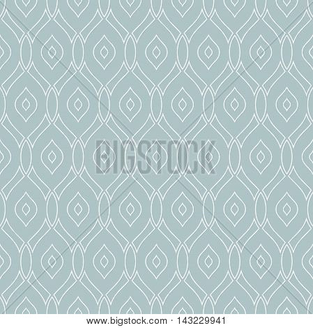 Seamless vector ornament. Modern geometric pattern with repeating wite wavy lines