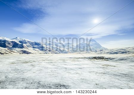 3d rendering of a fantasy winter scenery