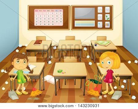 Two students cleaning the classroom illustration