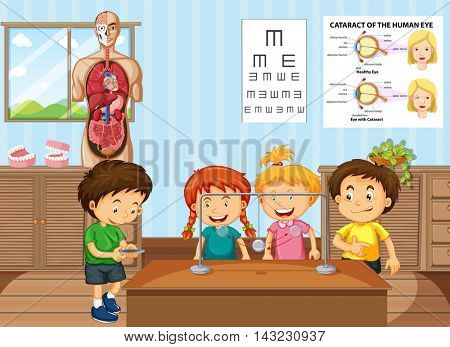 Students learning science in classroom illustration