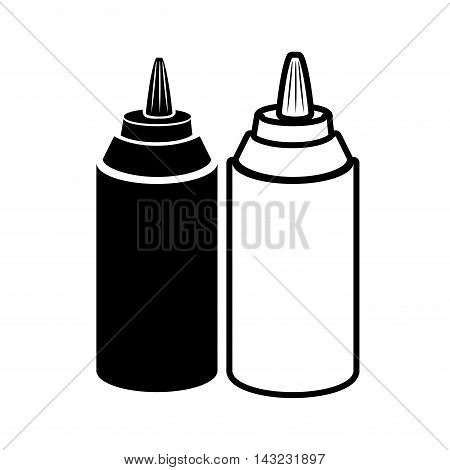 bottle sauce products flavor food ingredients silhouette vector illustration