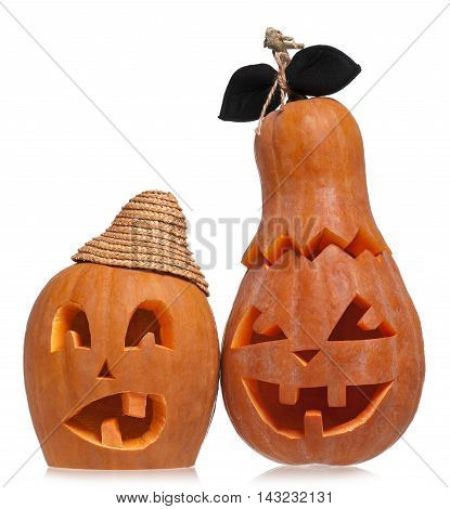 Terrible halloween pumpkins isolated on white background cutout