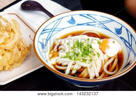 cold udon with egg Onsen  In a the Pinstripe Bowl