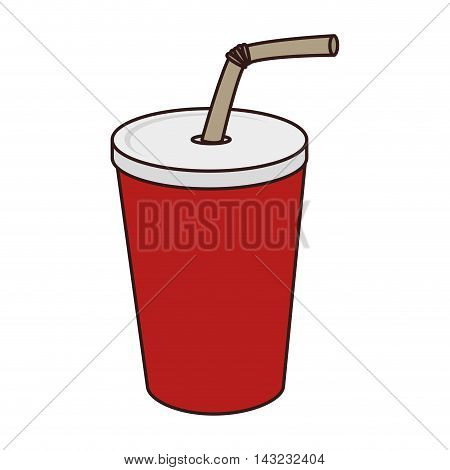 drink paper glass straw liquid recycle takeaway vector  illustration