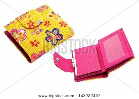 Colorful wallet a beautiful on white background.