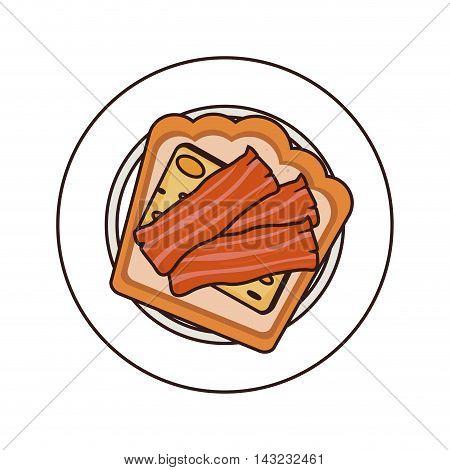 bacon breakfast plate bread cheese cook tasty vector illustration