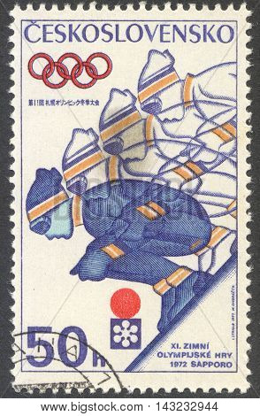 MOSCOW RUSSIA - CIRCA JUNE 2016: a post stamp printed in CZECHOSLOVAKIA shows Skiing the series