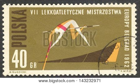 MOSCOW RUSSIA - CIRCA JULY 2016: a stamp printed in POLAND shows pole vaulting the series