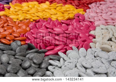 Chocolate Drops With Bright Color Candy Coating.