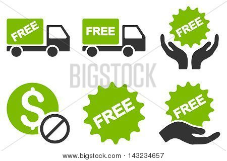 Free of Charge vector icons. Pictogram style is bicolor eco green and gray flat icons with rounded angles on a white background.
