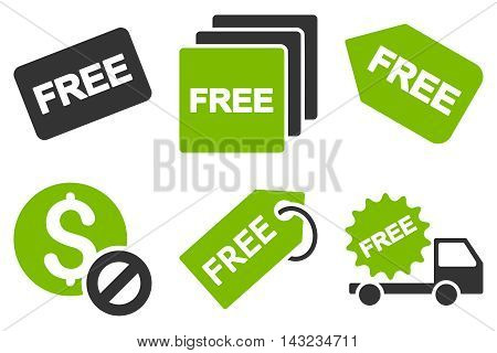 Free Tag vector icons. Pictogram style is bicolor eco green and gray flat icons with rounded angles on a white background.