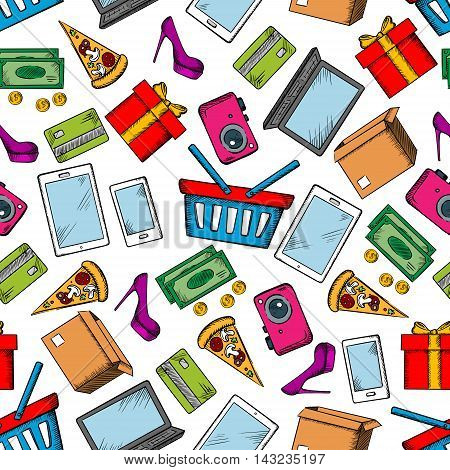 Shopping and leisure seamless background with pattern of vector sketch icons credit card, money, high heels, basket, banknote, dollar, gift, smartphone, laptop, pad, pizza, coin camera delivery box