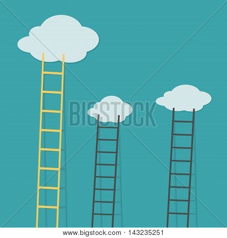 Ladder to clouds. Vector minimalistic design competition concept