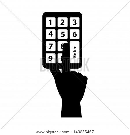 code pin number finger hand access combination identification vector illustration