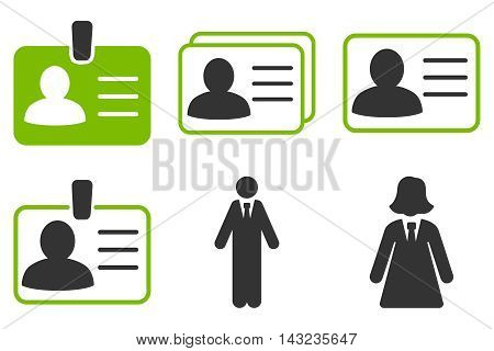 Person Account Card vector icons. Pictogram style is bicolor eco green and gray flat icons with rounded angles on a white background.
