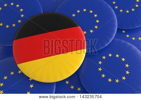 Germany And The European Union: German Flag And EU Flag Badges 3d illustration