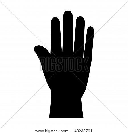 hand palm finger human stop gesture silhouette vector illustration