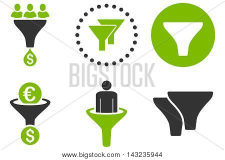Sales Filter vector icons. Pictogram style is bicolor eco green and gray flat icons with rounded angles on a white background.