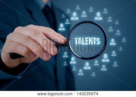 Human resources or headhunter search talented managers and another business person.