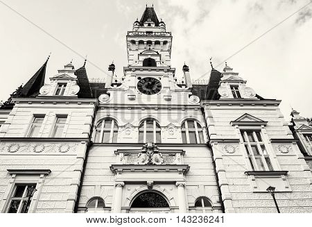 Beautiful Budmerice castle in Slovak republic. Architectural theme. Black and white photo. Cultural heritage. Beautiful place. Travel destination.