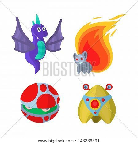 Fantasy monster color grunge character funny design element. Humour emoticon fantasy monsters unique expression sticker isolated. Alien sticker vector fantasy monsters paint crazy animals.