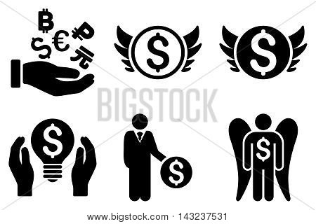 Angel Investor vector icons. Pictogram style is black flat icons with rounded angles on a white background.