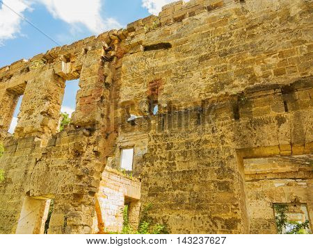 The Ruins Of An Ancient House In Odessa, Ukraine. Historic Building Destroyed By Vandals Of The Prol