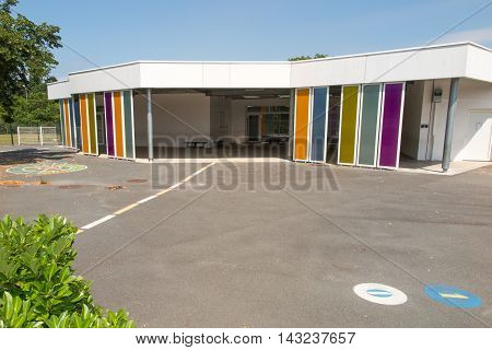 School Playground, Space In Bottom Colored Building