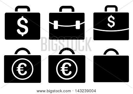 Business Case vector icons. Pictogram style is black flat icons with rounded angles on a white background.